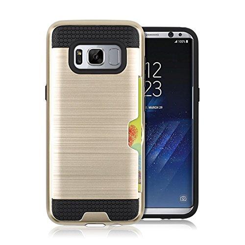 Funda Galaxy S8,Saincat PC + TPU Silicona con Diseño 3D Carcasa Case con Stand Holder Bumper Case con integrado Soporte Soporte Anti-Drop Shockproof Slim Funda Ranuras para Tarjetas Funda caso Paracho Negro