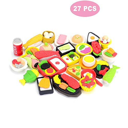 soododo 27 PCS Food Puzzle Erasers for Kids Gift,Party Favors, Games Prizes, Carnivals and School -
