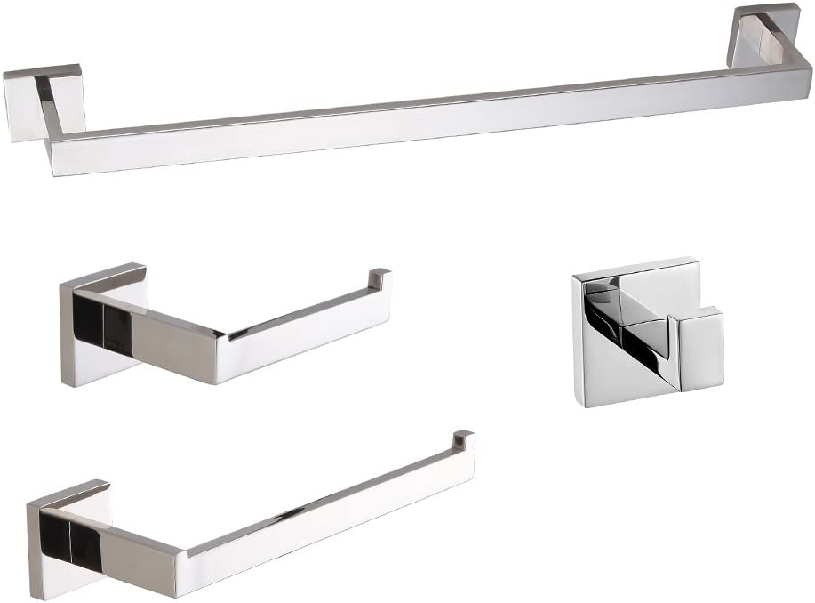 Amazon Com Luckin 24 Inch 4 Pieces Polished Chrome Bathroom Accessories Set Modern Bath Hardware Set Sus304 Stainless Steel Easy To Install Home Kitchen