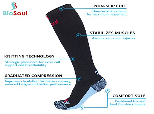Compression Socks for Men, Women, Athletes, Nurses, Shin Splints, CrossFit, Hiking, Cycling, Flight Travel, Pregnancy, Recovery, Diabetics, Active/Inactive Lifestyle, Boost Stamina and Circulation by BioSoul (Image #3)