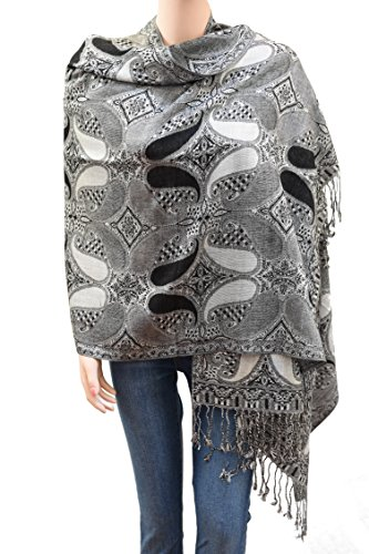 Flyingeagle Trade Elegant Paisley Pattern Double Layered Woven Multi-Color Pashmina Silky Shawl Scarf for Women (Black and Grey) ()