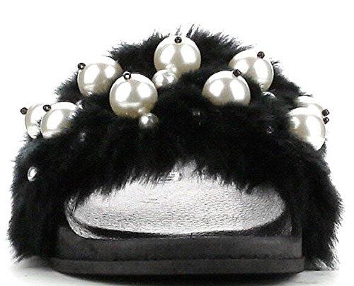 Cape Robbin Moira-12 Women Flip Flop Faux Fur Pearl Slide Slip On Flat Sandal Shoe Slipper Black Black gz7Z7AV