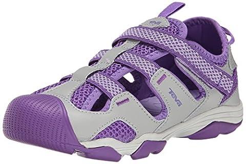 Teva Jansen Leather Kids Sport Shoe (Toddler/Little Kid/Big Kid), Grey/Purple, 6 M US Big Kid (Kid Teva Flip Flops)