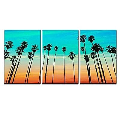 Magnificent Object of Art, California Sunset Palm Tree Rows in Santa Barbara US x3 Panels, Original Creation