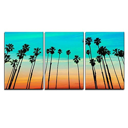 - wall26 - 3 Piece Canvas Wall Art - California Sunset Palm Tree Rows in Santa Barbara US - Modern Home Decor Stretched and Framed Ready to Hang - 24