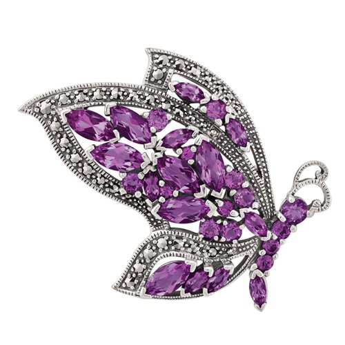 (Sterling Silver 5.12ct Amethyst & Marcasite Flying Butterfly Brooch)