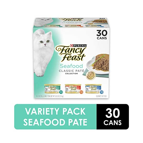 Purina Fancy Feast Grain Free Pate Wet Cat Food Variety Pack, Seafood Classic Pate Collection - (30) 3 oz. Cans 1