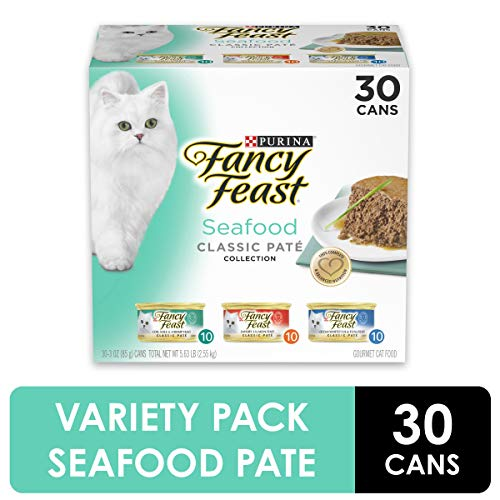 Purina Fancy Feast Grain Free Pate Wet Cat Food Variety Pack, Seafood Classic Pate Collection – (30) 3 oz. Cans
