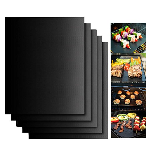 Accmor Grill Mat Set of 5- 100% Non-stick BBQ Grill & Baking Mats - FDA-Approved, PFOA Free, Reusable and Easy to Clean - Works on Gas, Charcoal, Electric Grill - 15.75 x 13 Inch