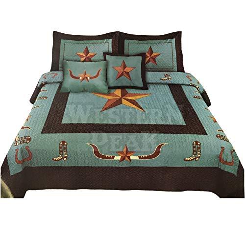 Western Peak Texas Star Longhorn Cowboy Boots Horseshoe 5 Piece Home Bedding Quilt Set (Turquoise, King)