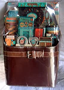 Portafolia Gifted Memories Buckle Bag Tote Scrapbooking Craft Kit Brown aqua