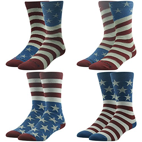 American Flag Socks, Men's Novelty Crew Socks, Ristake Original Design Print Fashion Pattern USA Stars & Stripes Sport Party The Fourth Crew Dress Socks 4 Pairs