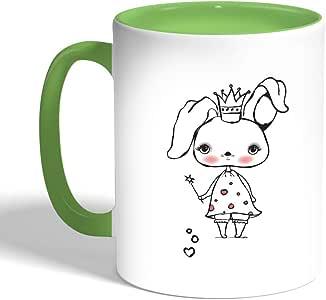 Printed Coffee Mug, Green Color, Cartoon Drawings - Rabbits