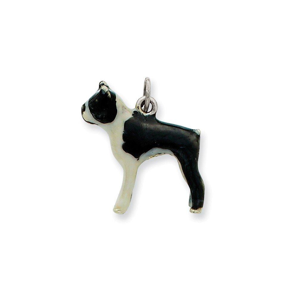 Sterling Silver Enameled Boston Terrier Charm