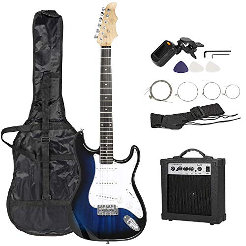 Smartxchoices 39″ Full Size Electric Guitar Blue Beginner Guitar with 15W Amp, Tuner, Carry Case and Accessories Pack
