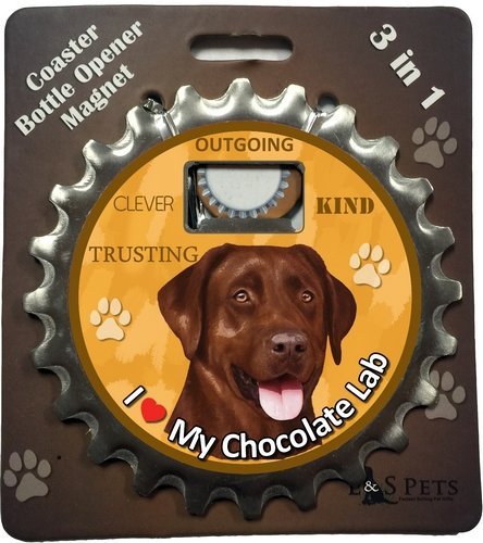 E&S Pets Labrador Chocolate Bottle Opener, Coaster and Magnet - Chocolate Coaster