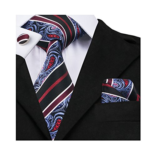 Barry.Wang Black Paisley Ties Silk Necktie Set Handkerchief Cufflinks
