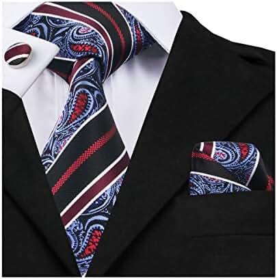 Hi-Tie Classic Paisley Necktie Set Hanky Cufflinks