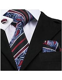 Men Ties Woven Tie Set with Pocket Suqare Cufflinks Paisley Necktie