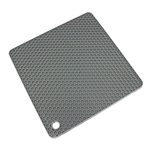 Lucky Plus Silicone Rubber Trivet Mat for Hot Pan and Pot Hot Pads Counter Mat Heat Resistant Tablemat or Placemats 4 Pack,Size:7.5x7.5 Inch, Color: Gray,Shape:Square by Smithcraft (Image #3)