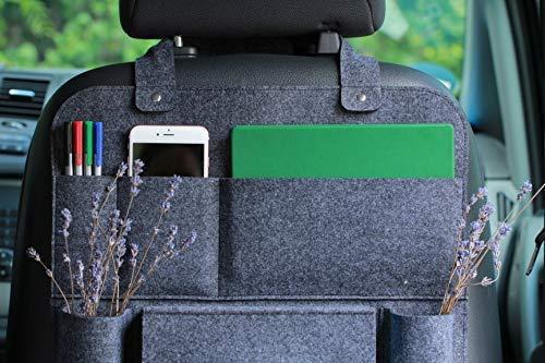 51tBdzoc44L Auto organizer Rückenlehnenschutz multi Staumöglichkeiten Wohnmobil Zubehör Innenraum, 62 x 41 cm - Dunkelgrau