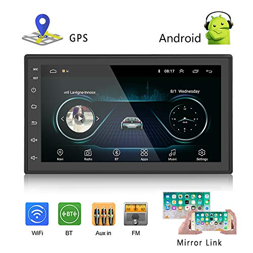 Podofo Car GPS Navigation Stereo - Double Din Android Head Unit with Bluetooth 7 inch LCD Touch Screen 1G + 16G Support FM Radio/WiFi/GPS Navigation (Best Double Din Head Unit For Android)