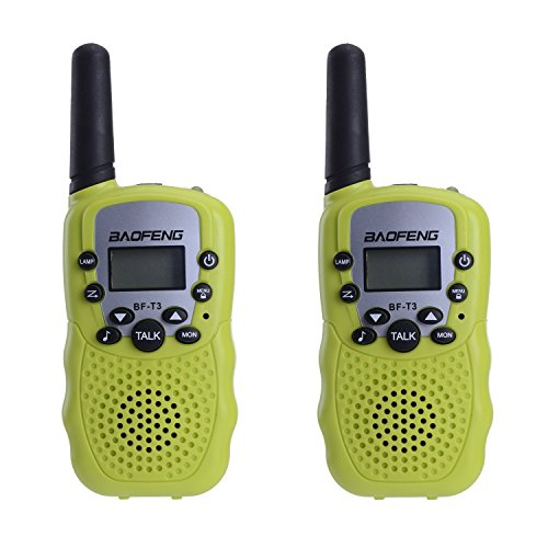 BaoFeng BF-T3 Mini 2 Way Radios Walkie Talkies Long Range Birthday Gift Ideas Toys for Age 3-12 Years Old Cool Young Boys Girls Children Toddlers (1 Pair, Green) for $<!--$19.99-->