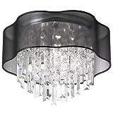 Dainolite Lighting ILL-144FH-PC-815 4-Light Crystal Flush Mount Fixture with Black Laminated Organza Shade