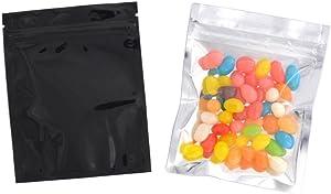 100 Pcs Reclosable 10.2x12.7 cm/4x5inch Clear Colorful Mylar Foil Flat Bag Sample Pouch Heat Sealable Aluminum Foil Bags Food Storage Coffee Candy Foil Grip Seal Wrap (Black)