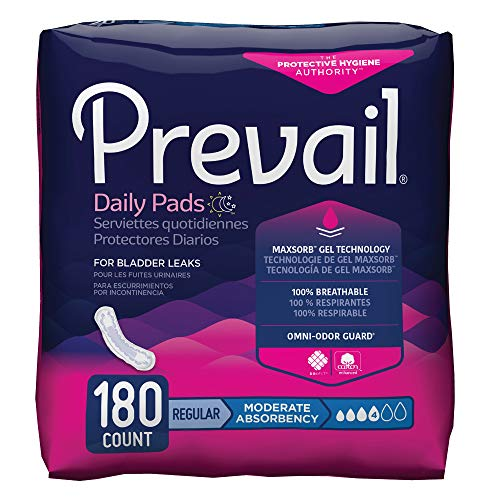 - Prevail Moderate Absorbency Incontinence Bladder Control Pads, Regular, 20 Count (Pack of 9)