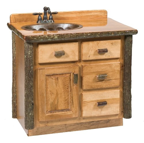 Fireside Lodge Furniture 83710-RM Sink Center Hickory Vanity with Slab Style Top In Liquid Glass Finish, 30