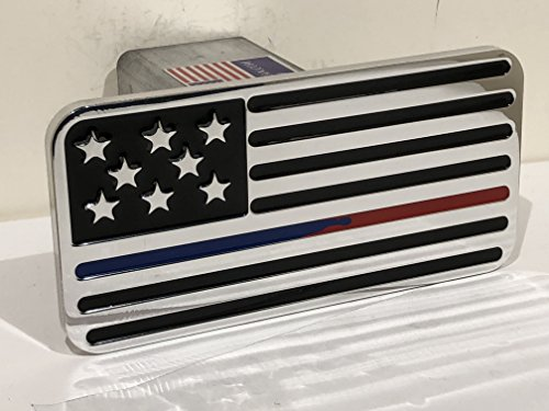 (USA FLAG THIN RED AND BLUE LINE HITCH COVER)