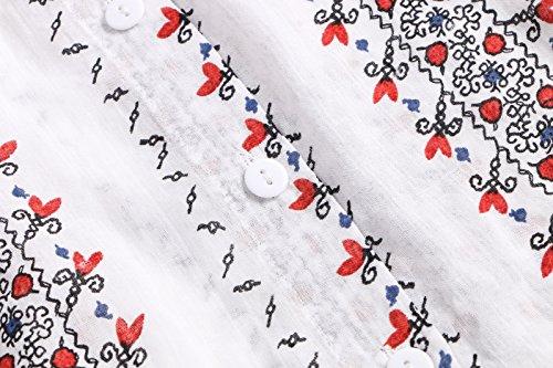 Beauty7 Lindo Blusas Mujer Mangas Larga Suelto con Botones Impreso Impresiones Florales Camisetas Verano Camisas T Shirt Tops Parte Superior Casual Ocasional Blanco