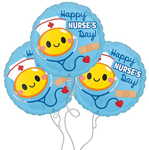 Nurse RN Themed Mylar Balloon - 3 Packs (3 Pack, Happy Nurse's Day) by Party Explosions®