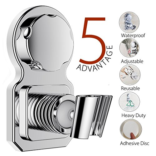 Vacuum Suction Cup Shower Head Holder Shower Head Stand Shower Head Bracket Shower Head Mount Wall Holder Shower Head Clip Reusable Adjustable With Adhesive Stick Disc For Bathroom Accessories