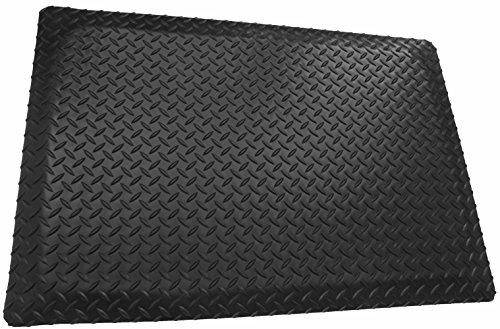 Rhino Mats DTT2436DSB Diamond Plate Anti-Fatigue Mat, 2' Width x 3' Length x 1'' Thickness, Black by Rhino Mats