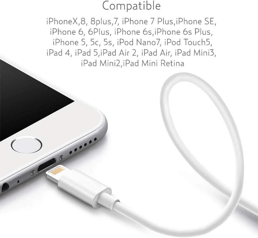 6ft Charger for iPhone with Wall Plug