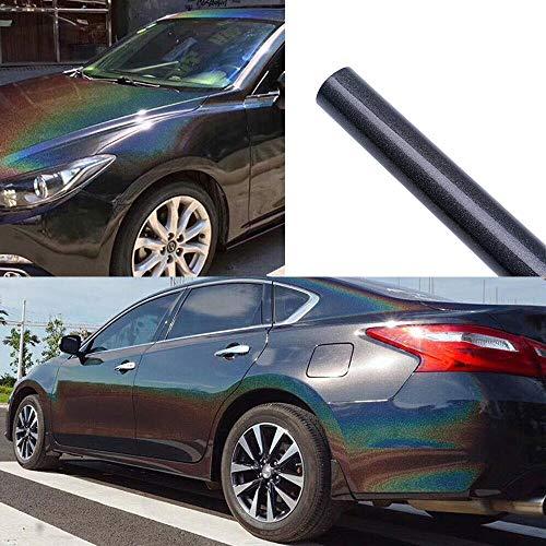 ATMOMO Colorful Laser Black Chameleon Vinyl Wrap Glossy Color Vehicle Film DIY Car Wrap Sticker Decal 1.52Mx20CM ()