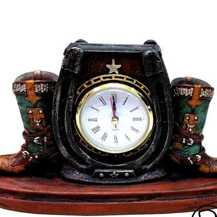 Western Cowboy Cowgirl Rustic Double Boots Horseshoe Outline Desk Shelf Electric Clock Home Office Decoration