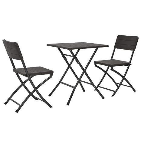 Tidyard- Mesa y sillas jardín Plegables 3 pzas HDPE Aspecto ...