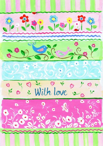 The Kids Room by Stupell Birds with Love Striped Patchwork Rectangle Wall Plaque
