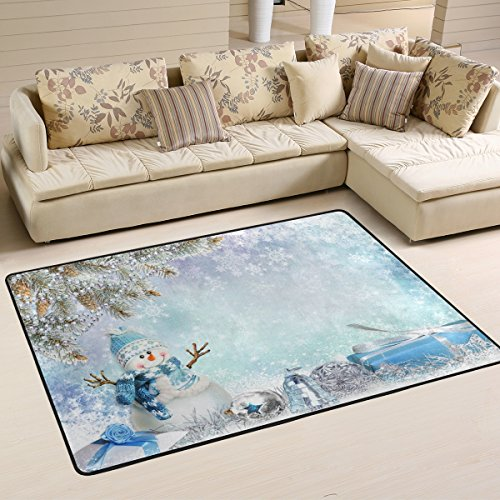 Merry Christmas with Elegant Snowman Area Rugs Pad Non ...