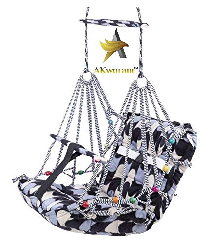 AKworam™ Cotton Swing for Kids Baby's Children Folding and Washable 1-3 Years with Safety Belt Home Garden Jhula for Babies for Indoor Outdoor(Multicolor)
