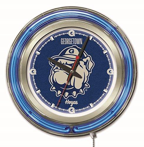 - Holland Bar Stool Company NCAA Georgetown Hoyas Double Neon Ring 15-Inch Diameter Logo Clock