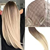 Easyouth Crown Topper Free Part Hair Extensions Clip in 16inch Natural Remy Hair Toupee For Women Silk Base Wiglet Highlights Color #7B And Yellow Blonde