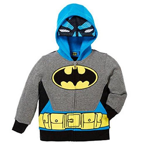 Superhero Little Boys Zip-Up Fleece Hoodie With Mesh Mask - BATMAN - 5