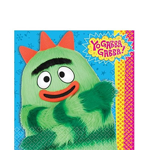 Hip and Hop Yo Gabba 6 1/2In X 6 1/2In Lunch Napkins Birthday Party Supplies, -