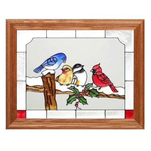 Glass Art Painted Holiday (Birds on a Snowy Fence Painted Holiday Art Glass)