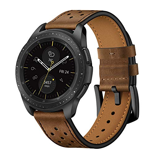 22mm Watch Band, 20mm Watch Band, OXWALLEN Leather Watch Band Quick Release Soft Strap fit for Samsung Watch 46mm,42mm, Galaxy Active, Gear S3 and Traditional Watch - Red Brown