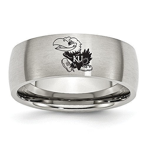(Size 7 - Stainless Steel University of Kansas Laser Etch Ring (8mm))
